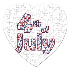 4th Of July Independence Day Jigsaw Puzzle (heart) by Valentinaart