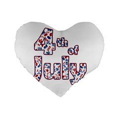 4th Of July Independence Day Standard 16  Premium Flano Heart Shape Cushions by Valentinaart