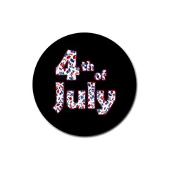 4th Of July Independence Day Rubber Coaster (round)  by Valentinaart