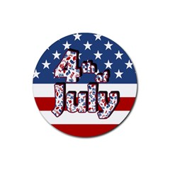 4th Of July Independence Day Rubber Round Coaster (4 Pack)  by Valentinaart