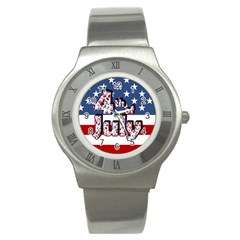 4th Of July Independence Day Stainless Steel Watch by Valentinaart