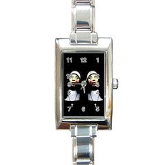 Horror Nuns Rectangle Italian Charm Watch by Valentinaart