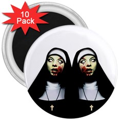 Horror Nuns 3  Magnets (10 Pack)  by Valentinaart