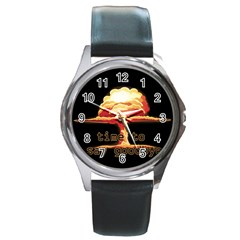 Nuclear Explosion Round Metal Watch by Valentinaart