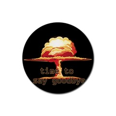Nuclear Explosion Rubber Coaster (round)  by Valentinaart