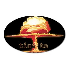 Nuclear Explosion Oval Magnet by Valentinaart