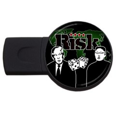 Nuclear Explosion Trump And Kim Jong Usb Flash Drive Round (2 Gb) by Valentinaart