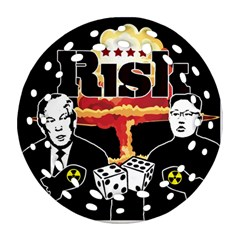 Nuclear Explosion Trump And Kim Jong Ornament (round Filigree)