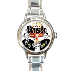 Nuclear Explosion Trump And Kim Jong Round Italian Charm Watch by Valentinaart