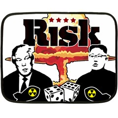 Nuclear Explosion Trump And Kim Jong Double Sided Fleece Blanket (mini)  by Valentinaart