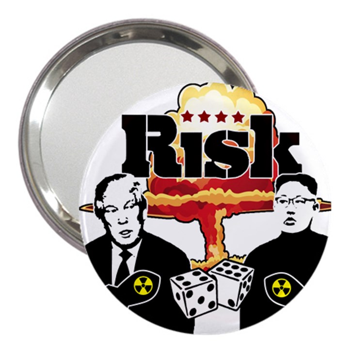Nuclear Explosion Trump and Kim Jong 3  Handbag Mirrors