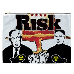 Nuclear Explosion Trump And Kim Jong Cosmetic Bag (xxl)  by Valentinaart