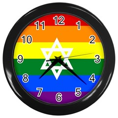 Gay Pride Israel Flag Wall Clocks (black) by Valentinaart