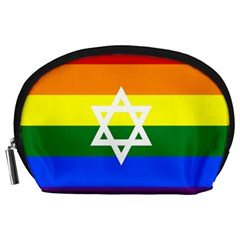 Gay Pride Israel Flag Accessory Pouches (large)  by Valentinaart