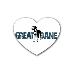 Great Dane Rubber Coaster (heart)  by Valentinaart