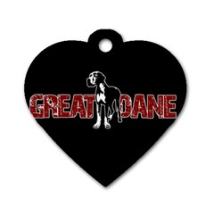 Great Dane Dog Tag Heart (two Sides) by Valentinaart