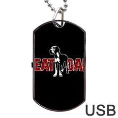 Great Dane Dog Tag Usb Flash (two Sides) by Valentinaart