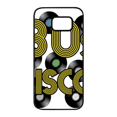 80s Disco Vinyl Records Samsung Galaxy S7 Edge Black Seamless Case by Valentinaart