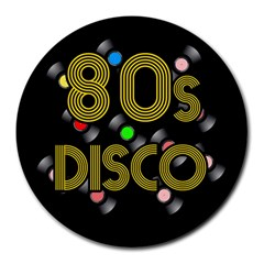 80s Disco Vinyl Records Round Mousepads by Valentinaart