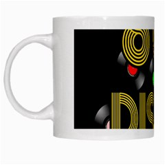 80s Disco Vinyl Records White Mugs by Valentinaart