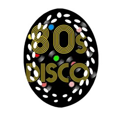 80s Disco Vinyl Records Ornament (oval Filigree) by Valentinaart