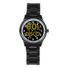 80s Disco Vinyl Records Stainless Steel Round Watch by Valentinaart