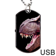 Dinosaurs T Rex Dog Tag Usb Flash (one Side) by Valentinaart