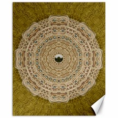 Golden Forest Silver Tree In Wood Mandala Canvas 16  X 20   by pepitasart