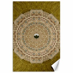 Golden Forest Silver Tree In Wood Mandala Canvas 24  X 36  by pepitasart