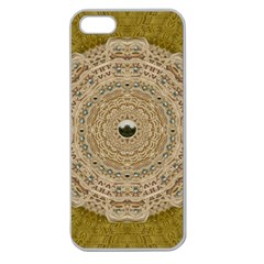 Golden Forest Silver Tree In Wood Mandala Apple Seamless Iphone 5 Case (clear) by pepitasart