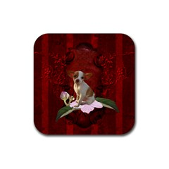 Sweet Little Chihuahua Rubber Square Coaster (4 Pack)  by FantasyWorld7