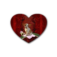 Sweet Little Chihuahua Heart Coaster (4 Pack)  by FantasyWorld7