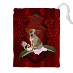 Sweet Little Chihuahua Drawstring Pouches (xxl) by FantasyWorld7