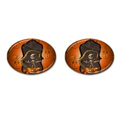 Halloween, Funny Mummy With Pumpkins Cufflinks (oval) by FantasyWorld7