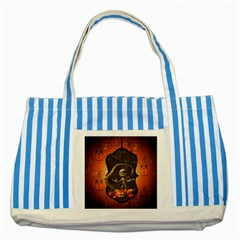 Halloween, Funny Mummy With Pumpkins Striped Blue Tote Bag by FantasyWorld7