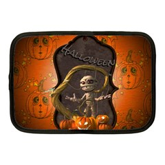 Halloween, Funny Mummy With Pumpkins Netbook Case (medium)  by FantasyWorld7