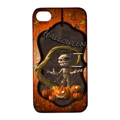 Halloween, Funny Mummy With Pumpkins Apple Iphone 4/4s Hardshell Case With Stand by FantasyWorld7
