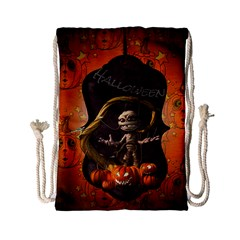 Halloween, Funny Mummy With Pumpkins Drawstring Bag (small) by FantasyWorld7