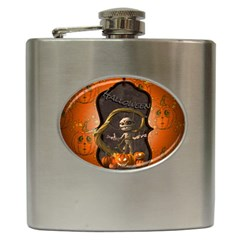 Halloween, Funny Mummy With Pumpkins Hip Flask (6 Oz) by FantasyWorld7