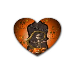 Halloween, Funny Mummy With Pumpkins Rubber Coaster (heart)  by FantasyWorld7