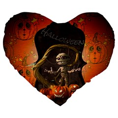 Halloween, Funny Mummy With Pumpkins Large 19  Premium Heart Shape Cushions by FantasyWorld7