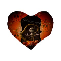 Halloween, Funny Mummy With Pumpkins Standard 16  Premium Flano Heart Shape Cushions by FantasyWorld7