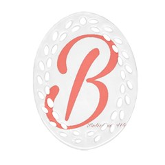 Belicious World  b  In Coral Oval Filigree Ornament (two Sides) by beliciousworld