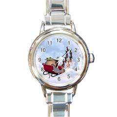 Christmas, Santa Claus With Reindeer Round Italian Charm Watch by FantasyWorld7