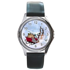 Christmas, Santa Claus With Reindeer Round Metal Watch by FantasyWorld7