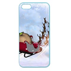 Christmas, Santa Claus With Reindeer Apple Seamless Iphone 5 Case (color)