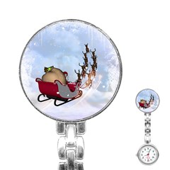 Christmas, Santa Claus With Reindeer Stainless Steel Nurses Watch by FantasyWorld7
