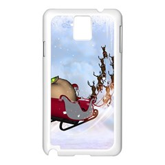 Christmas, Santa Claus With Reindeer Samsung Galaxy Note 3 N9005 Case (white) by FantasyWorld7
