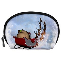 Christmas, Santa Claus With Reindeer Accessory Pouches (large)  by FantasyWorld7