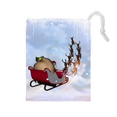 Christmas, Santa Claus With Reindeer Drawstring Pouches (large)  by FantasyWorld7